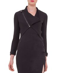 Akris - Black Asymmetric Wool-Crepe Jacket - Lyst