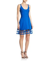 Hervé Léger | Blue Cage-hem A-line Dress | Lyst