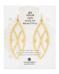 Dogeared | Metallic Gold-dipped Be Your Own Kind Of Beautiful Earrings | Lyst