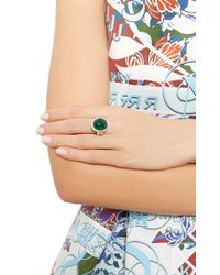 Nina Runsdorf   Green One Of A Kind 18K White Gold Ring With Emerald Cabochon Center Stone   Lyst