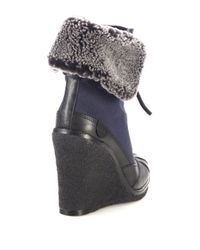 Tory Burch | Blue Fairfax Wedge Booties | Lyst