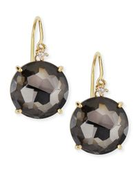 Suzanne Kalan - Metallic 14k Yellow Gold Round Black Night Quartz Drop Earrings - Lyst