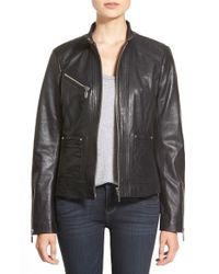 Bernardo | Black Zip-Front Leather Jacket | Lyst