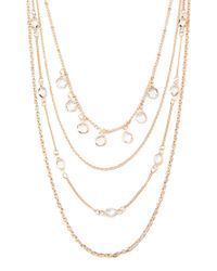 Forever 21 | Metallic Layered Clear Faux Stone Necklace | Lyst