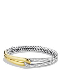 David Yurman | Metallic Labyrinth Single-loop Bracelet With Diamonds & Gold | Lyst