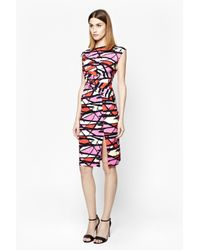 French Connection - Pink Shadow Dance Print Dress - Lyst