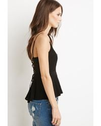 Forever 21 | Black Embellished Cutout Peplum Cami | Lyst