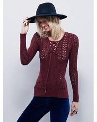 Free People | Red Womens Cross Ties Sweater | Lyst