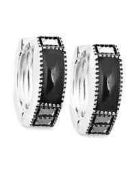 Judith Jack | Metallic Sterling Silver Onyx 114 Ct Tw And Marcasite 14 Ct Tw Huggie Hoop Earrings | Lyst