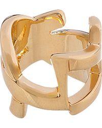 Saint Laurent - Metallic Gold Cassandre Monogram Ring - Lyst