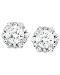 Macy's | Diamond Cluster Stud Earrings (1/2 Ct. T.w.) In 14k White Gold | Lyst