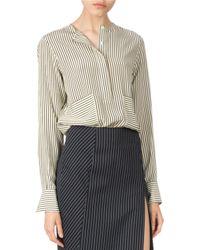 Altuzarra - Gray Pinstriped Slit Pencil Skirt - Lyst