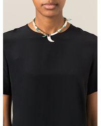 Etro - White Tusk Beaded Necklace - Lyst