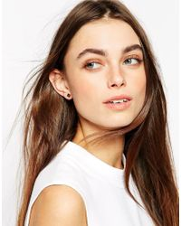 Stella & Bow - Black Blanche Square Stud Earrings - Lyst