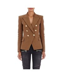 Balmain | Brown Double-breasted Blazer | Lyst