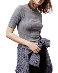 TOPSHOP Gray Ribbed Funnel Neck Tee