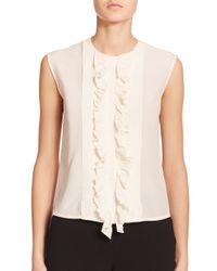 Etro - White Ruffled & Pleated Silk Top - Lyst