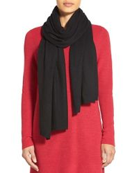 Eileen Fisher | Black Cashmere Knit Scarf | Lyst