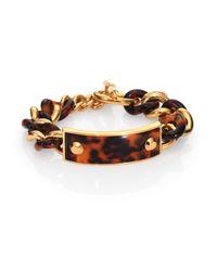 Michael Kors | Brown Plaque Tortoise-Print Curb Chain Bracelet | Lyst