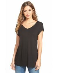 Halogen | Black Side Slit Double V-neck Tee | Lyst