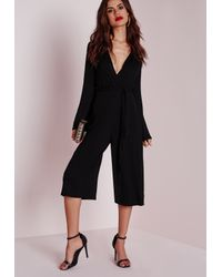 689e170837 Lyst - Missguided Jersey Wrap Belt Culotte Jumpsuit Black in Black