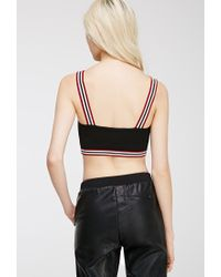 Forever 21 - Black Varsity-striped Crop Top - Lyst