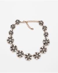 Zara | Metallic Gem Choker | Lyst