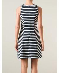 MICHAEL Michael Kors - White Striped Flared Dress - Lyst