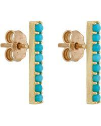 Jennifer Meyer Blue Turquoise Long Bar Stud Earrings