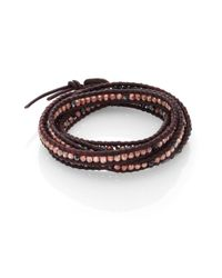 Chan Luu | Brown Crystal & Leather Multi-row Beaded Wrap Bracelet | Lyst