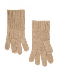 Violeta by Mango - Natural Ribbed Knit Gloves - Lyst