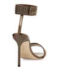 Manolo Blahnik - Brown Roccmet Chain Ankle-wrap Sandal - Lyst