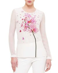 Akris - Multicolor Chiffon-sleeve Orchid-print Blouse - Lyst