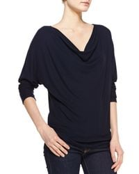 Three Dots - Blue Jersey Cowl-neck 3/4-sleeve Top - Lyst