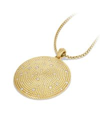 David Yurman | Metallic Cable Coil Pendant With Diamonds In 18 K Gold | Lyst