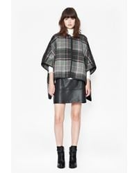 French Connection - Gray Felix Checked Cape - Lyst