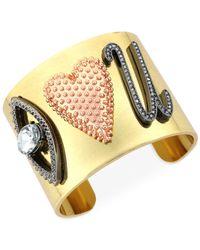 "BCBGeneration | Metallic Gold-tone ""i Heart U"" Cuff Bracelet | Lyst"
