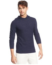 Calvin Klein | Blue Garter-stitch Knit Hoodie for Men | Lyst