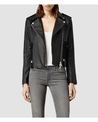 AllSaints | Black Drew Biker Jacket | Lyst
