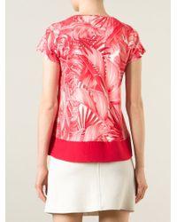 Ferragamo - Pink Leaf Print Top - Lyst