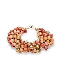 31 Bits - Pink And Orange Beaded Bracelet - Lyst