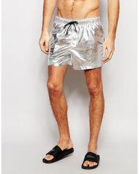 Men's Short Length Swim Shorts In Metallic Silver
