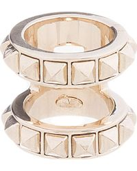 Valentino - Metallic Platinum Double Band Ring - Lyst