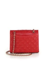 Tory Burch | Red Fleming Medium Quilted Leather Shoulder Bag | Lyst