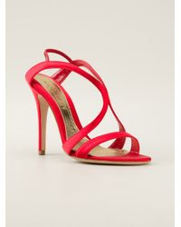Alexander McQueen | Red Strappy Evening Sandal | Lyst
