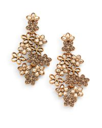 Oscar de la Renta - White Swarovski Crystal Flower Clipon Earrings - Lyst