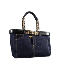 Moschino - Black Handbag Bag Shopping Jeans Denim With Belt - Lyst
