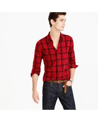 J.Crew | Midweight Flannel Shirt In Holiday Red Plaid for Men | Lyst