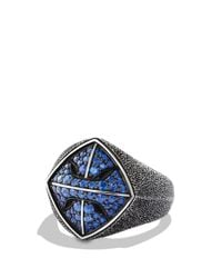 David Yurman | Blue Armory Signet Ring With Sapphires for Men | Lyst