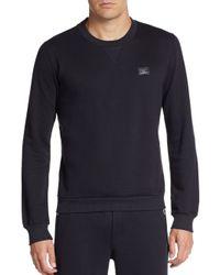 Dolce & Gabbana | Blue Logo Plaque Cotton & Silk Sweatshirt for Men | Lyst